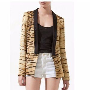 Zara Woman Tiger Stripe Silky Tuxedo Jacket Small